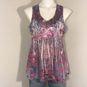 One World Petite Purple and Pink Sleeveless Top LP